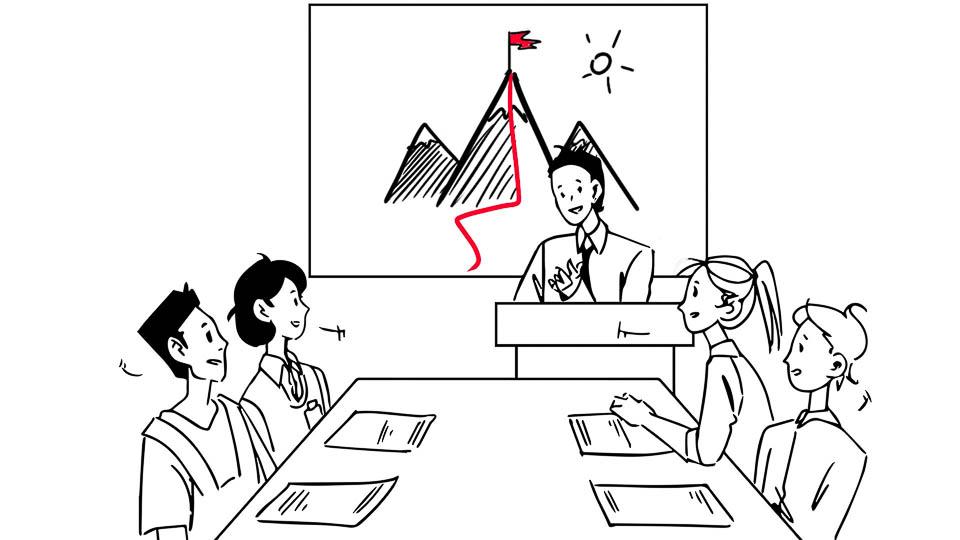 Spotkanie biznesowe. Prezentacja. Szkolenie. Menedżer stoi przy mównicy itłumaczy czterem pracownikom strategię zdobycia celu. Wtle slajd zgórą dozdobycia.