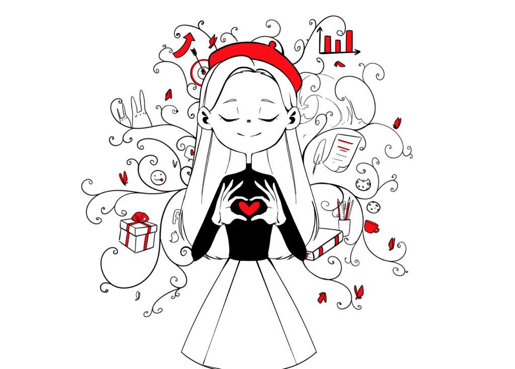 Dziewczyna artystka wczerwonym berecie trzymająca dłonie ułożone wkształt serca – symbol wierności zasadom. Wtle widać grafiki biznesowe, wykres, tarcza zcelem, emotikony, książki, prezent.