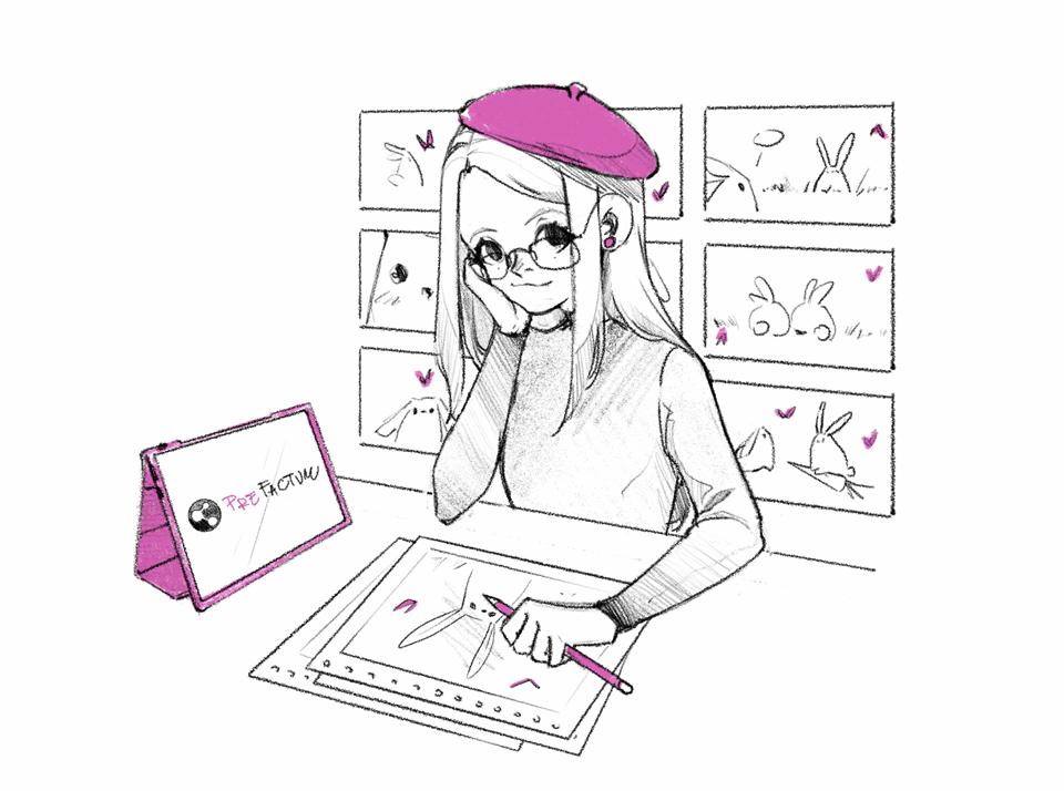 Rysownik graficzny. Dziewczyna artystka trzymająca podpachą tablet graficzny ipad zpencilem.