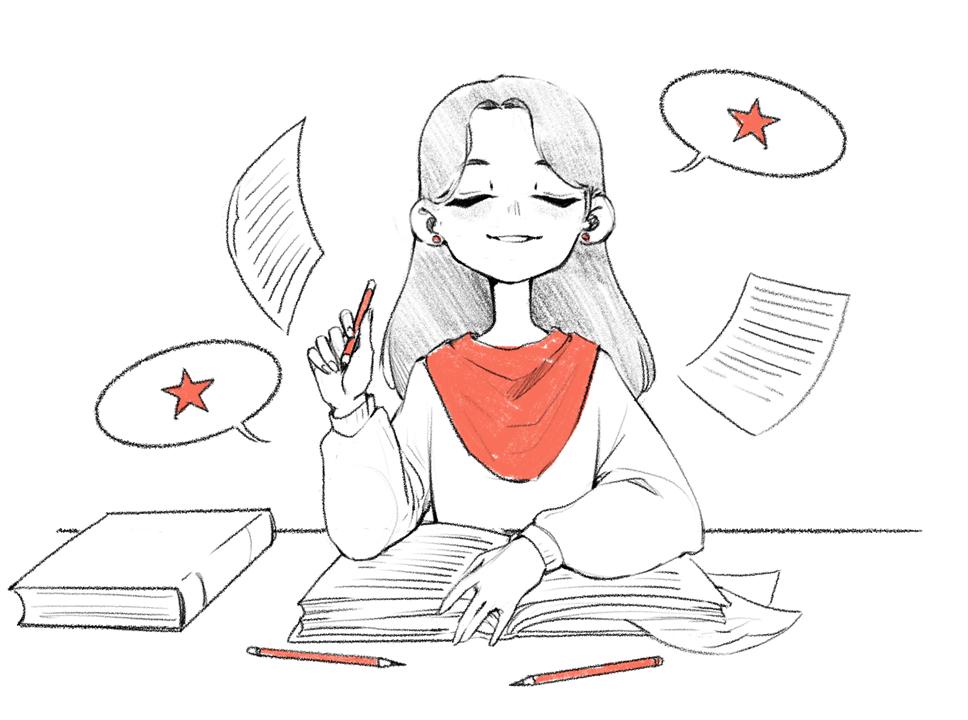 Storyteller. Copywriter. Dziewczyna trzymająca wjednej ręce ołówek, awdrugiej notatnik. Ma zamknięte oczy, myśli jak napisać dobry tekst dla klienta. Ma już pomysł nadobrą treść. Content marketing.